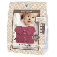 Go Handmade Knitting Crochet Kit Baby Cardigan - Medium Pink